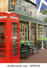 English Pub with exterior red telephone booth