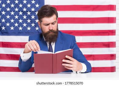 English reading. American bibliophile. Bearded man read book on USA flag background. Reading and comprehension. Home reading. Self-study lesson. School and education. Improve your reading skills.