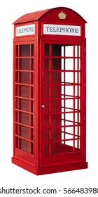 The English red public callbox is isolated on a white background