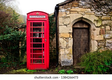 English Red Telephone box, Castle Combe, England