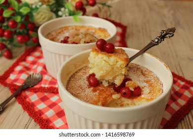 English rice pudding. Photo of the finished dish. Rice pudding cooked in the oven