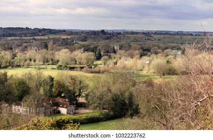 An English Rural Landscape in the Chiltern Hills looking towards the village of Cookham