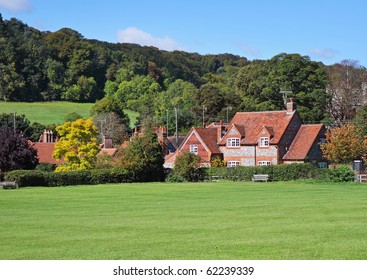 An English Rural Landscape with Hamlet of Brick and Flint Houses