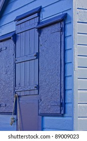 English seaside holiday chalet in shades of blue