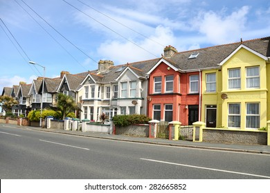 English street of terraced houses, without parked cars