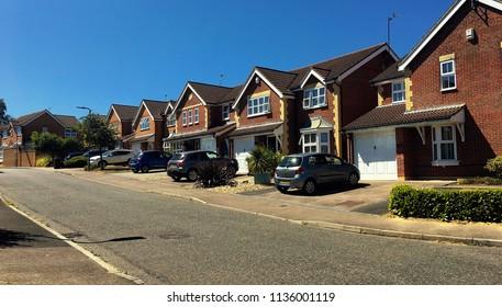 English suburban street in summer, Uckfield, East Sussex, UK, July 2018