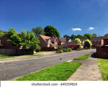 English suburbs; view of typical english suburban housing;