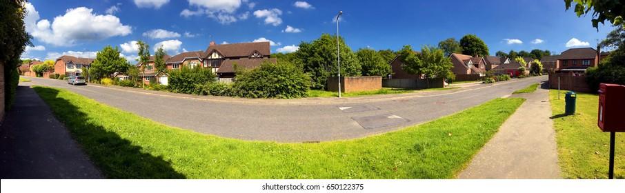 English suburbs; view of typical english suburban housing; panorama