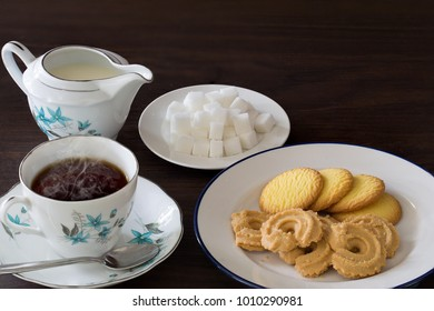 English tea and Cookies on brown wooden table  / Still Life and Selective focus space for texts and message