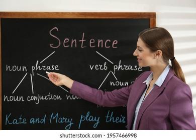 English teacher giving sentence construction rules near blackboard in classroom