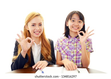 English teacher with student