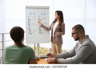 English teacher with students in class at lesson