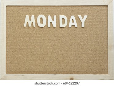English Text Monday on a wooden board