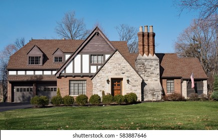 English Tudor Brick & Stone House