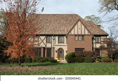 English Tudor Home in Fall