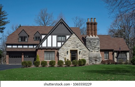English Tudor Style House with Triple Stack Chimney