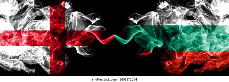 English vs Bulgaria, Bulgarian smoky mystic flags placed side by side. Thick colored silky smokes flag of England and Bulgaria, Bulgarian.