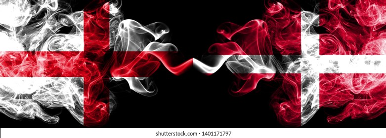 English vs Denmark, Danish smoky mystic flags placed side by side. Thick colored silky smokes flag of England and Denmark, Danish.