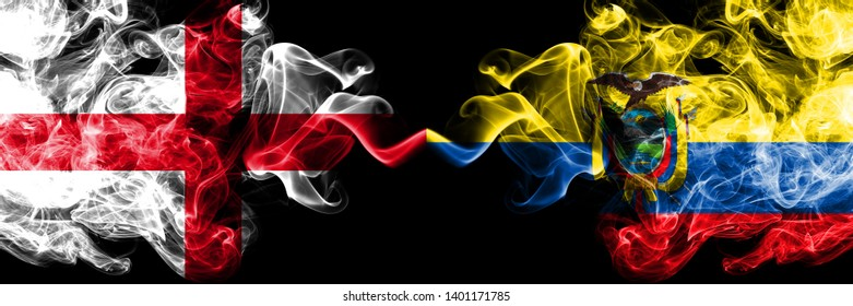 English vs Ecuador, Ecuadorian smoky mystic flags placed side by side. Thick colored silky smokes flag of England and Ecuador, Ecuadorian.