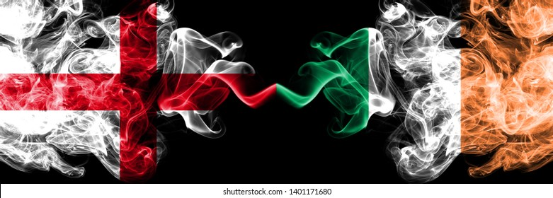 English vs Ireland, Irish smoky mystic flags placed side by side. Thick colored silky smokes flag of England and Ireland, Irish.