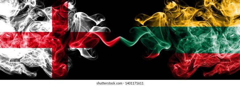 English vs Lithuania, Lithuanian smoky mystic flags placed side by side. Thick colored silky smokes flag of England and Lithuania, Lithuanian.