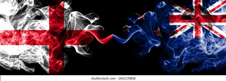English vs New Zealand, New Zealander smoky mystic flags placed side by side. Thick colored silky smokes flag of England and New Zealand, New Zealander.
