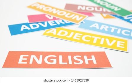 Englische Wortkarten eines Teils der Sprache auf weißem Hintergrund