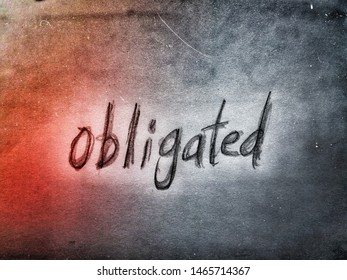 the english word obligated on the grey and orange color background