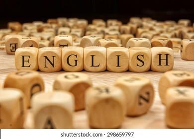ENGLISH word written on wood block