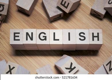 English Word Written In Wooden Cube