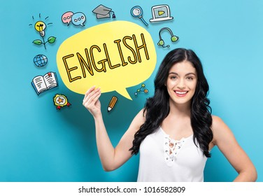 English with young woman holding a speech bubble