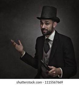 Englishman and gentleman. Retro styled male portrait