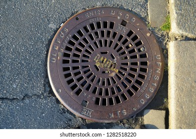 Engraved manhole cover, City of Culture, in Norway.June 27,2018. Bergen,Norway