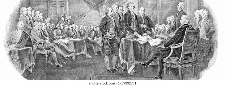 "Engraved modified reproduction of the painting ""Signing of the Declaration of Independence"" in 1776 (painting by John Trumbull). Portrait from United States of America 2 Dollars 1976 Banknotes."