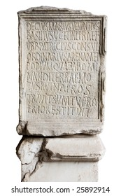 Engraved stone in Coliseum with latin letters
