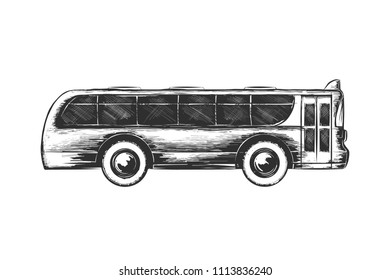 Engraved style illustration for posters, decoration and print. Hand drawn sketch of tourist bus in monochrome isolated on white background. Detailed vintage woodcut style drawing.