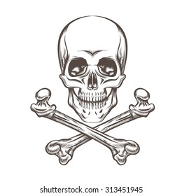 Engraving illustration of skull and crossbones. Isolated on white background.