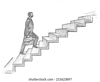 Engraving style hatching pen pencil painting illustration businessman walking ladder os success career concept image. Engrave hatch lithography drawing collection.