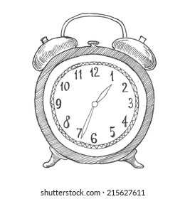Engraving style hatching pen pencil painting illustration alarm clock image. Engrave hatch lithography drawing collection.