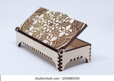 Engraving wooden box on white background