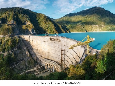 The Enguri hydroelectric power station HES. The wide Inguri River Jvari Reservoir next to Enguri Dam, surrounded by mountains, Upper Svaneti, Georgia. Jvari location.
