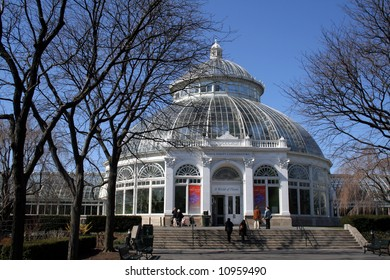 The Enid A. Haupt Conservatory at the New York Botanical Garden in the Bronx.  Beautiful glass structure that houses trees, plants and flowers in simulated habitats from around the world.