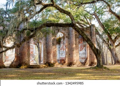 Enigmatic ruins of burned down Old Sheldon church surrounded by oaks, South Carolina, USA