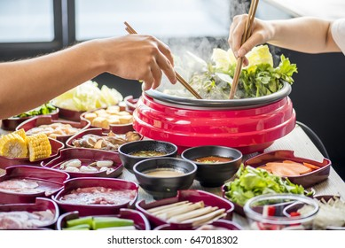 enjoy eating Shabu Shabu and Sukiyaki in hot pot at japanese 