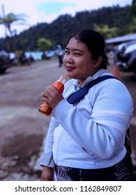 Enjoy The Holiday With Drinking Tea At Lake Beratan, Bedugul, Bali, Indonesia