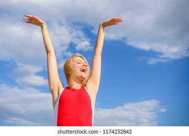 Enjoy life without sweat smell. Woman blonde relaxing outdoors confident perspirant. Take care skin armpit. Girl stay active feel free solid antiperspirant sky background. Dry armpit summer goal.