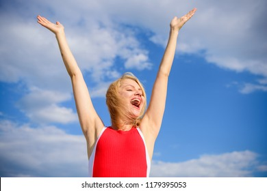 Enjoy life without sweat smell. Woman blonde relaxing outdoors confident perspirant. Take care skin armpit. Dry armpit summer goal. Girl stay active feel free solid antiperspirant sky background.