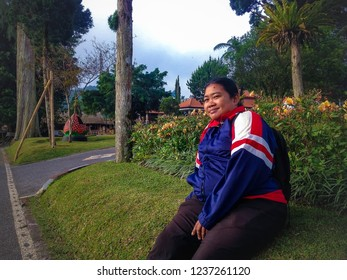 Enjoy Morning Atmosphere In The Garden Of Ulun Danu Bratan, Bedugul, Tabanan, Bali, Indonesia