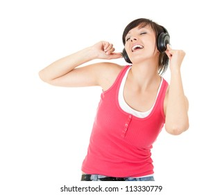 enjoy music young woman with headphones, white background