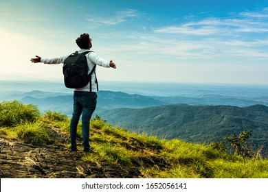 Enjoy the nature beauty, Young man explore nature, Kerala Tourism and travel image, Beautiful mountain scenery, best place to visit in india, traveller with backback, amazing nature landscape view